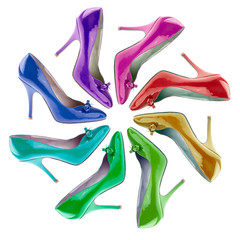 Many-coloured women's shoes