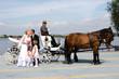 Ehepaar mit Kinder vor weißer Kutsche