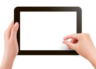 Fingers pinching to zoom tablet s screen  Vector