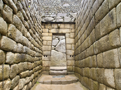 Doorway of Inca temple at Machu Picchu
