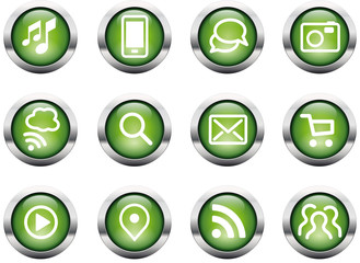 Buttons Communication glossy green