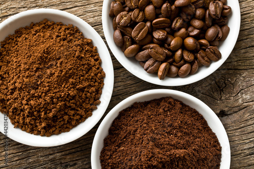 Fototapety, obrazy : coffee beans, ground coffee and instant coffee