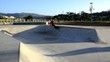 Skateboarder riding a pool
