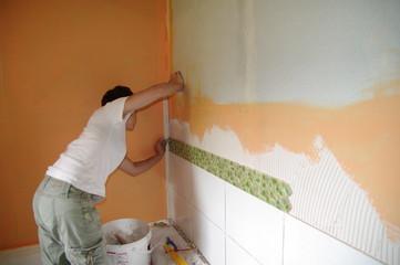 pose de carrelage - faïence murale