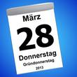 Kalender auf blau - 28.03.2013 - Gründonnerstag