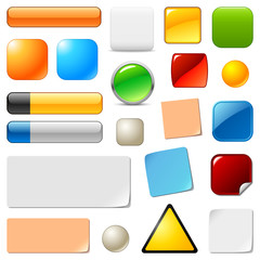 Blank web buttons and stickers. Vector templates set
