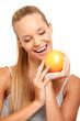 portrait of a healthy woman wants an orange