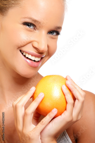 closeup portrait of a sexy woman with fruit