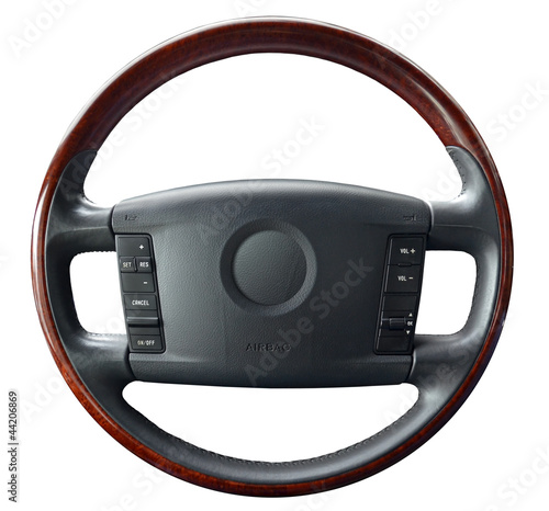 Steering wheel on white
