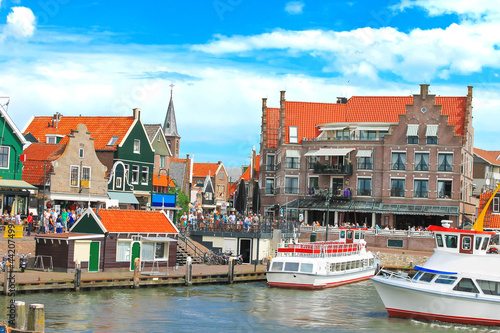 Tourist boat in the port of Volendam. Netherlands