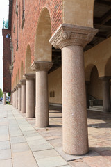 Columns and walls of the City Hall in Stockholm, Sweden