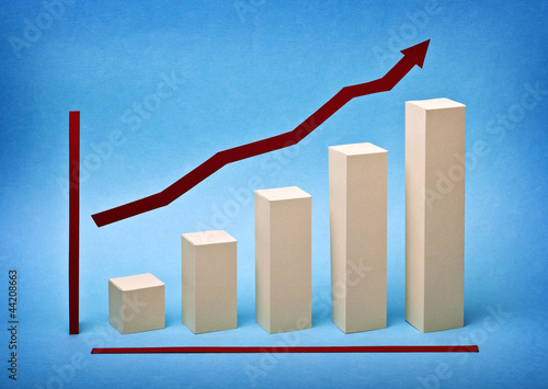 Business graph chart growth made ​​out of paper