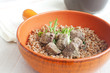 Cooked liver with buckwheat