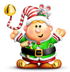 Whimsical Cartoon Christmas Elf