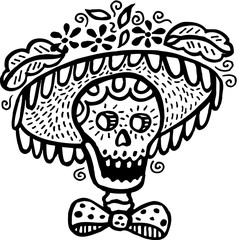 A black and white picture of a skull wearing a hat