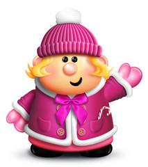 Whimsical Cartoon Girl in Winter