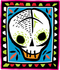 White skull on colorful bordered background
