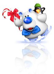 Whimsical Cartoon Polar Bear Ice Skating with Penguin