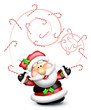 Whimsical Santa Juggling Candy Canes