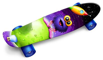 Illustrated Skateboard with Alien Design
