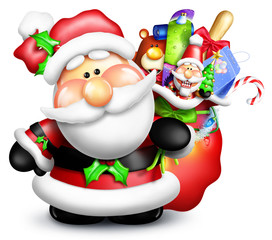 Whimsical Cartoon Santa with Gift Bag and Toys