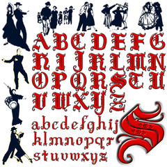 people dancing character abc alphabet collection