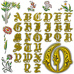 Decoration flowers character abc alphabet collection