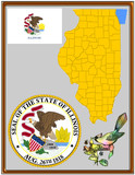 USA state Illinois flag map coat bird