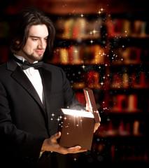Man Opening a Gift Box