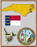 USA state North Carolina flag map coat bird