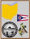 USA state Ohio flag map coat bird