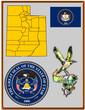 USA state Utah flag map coat bird