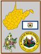 USA state West Virginia flag map coat bird