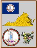 USA state Virginia flag map coat bird