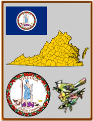 USA state Virginia flag map coat bird