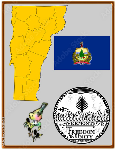 USA state Vermont flag map coat bird