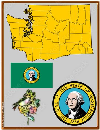 USA state Washington flag map coat bird