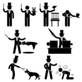 Magician Magic Show Icon Symbol Sign Pictogram poster