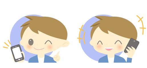 スマートフォンと男の子