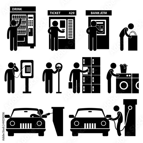 Man using Auto Public Machine Icon Symbol Sign Pictogram