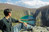 man enjoy the Plitvice Lakes National Park,Croatia