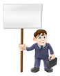 Cartoon business man and sign