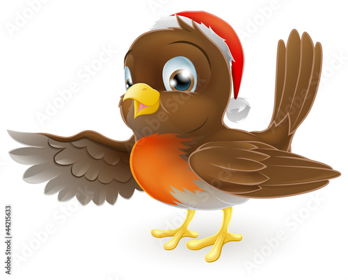 Christmas Robin bird pointing