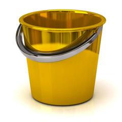 Gold bucket isolated on white background