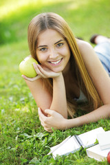 Student with apple