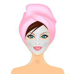 Vector illustration of woman with facial mask