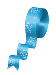 Vector illustration of blue ribbon with snowflakes