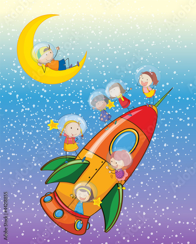 Poster Kosmos kids on moon and spaceship