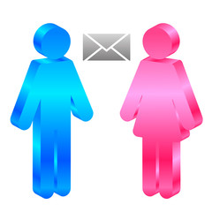 Vector icon of man, woman and envelope