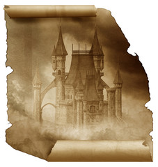 Dark Castle on a old paper scroll